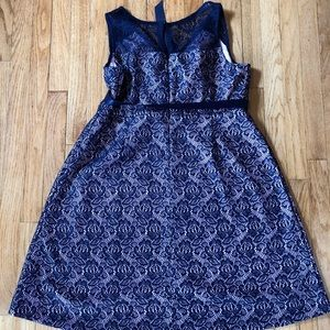 Motherhood Maternity Dresses - Motherhood Maternity Dress Pink/Navy Lace LG